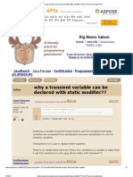 Why a Transient Variable Can Be Declared With Static Modifier__ (SCJP Forum at JavaRanch)