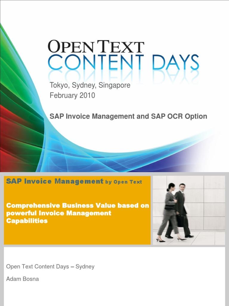 SAP Invoice Managementpdf Sap Se Optical Character Recognition - Open text invoice management