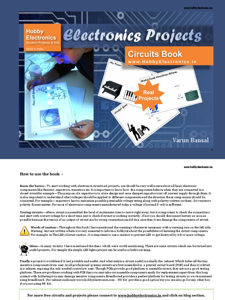 Electronics Project Bookpdf Capacitor Electronic Circuits Diy Design Projects Kit Circuit Kits