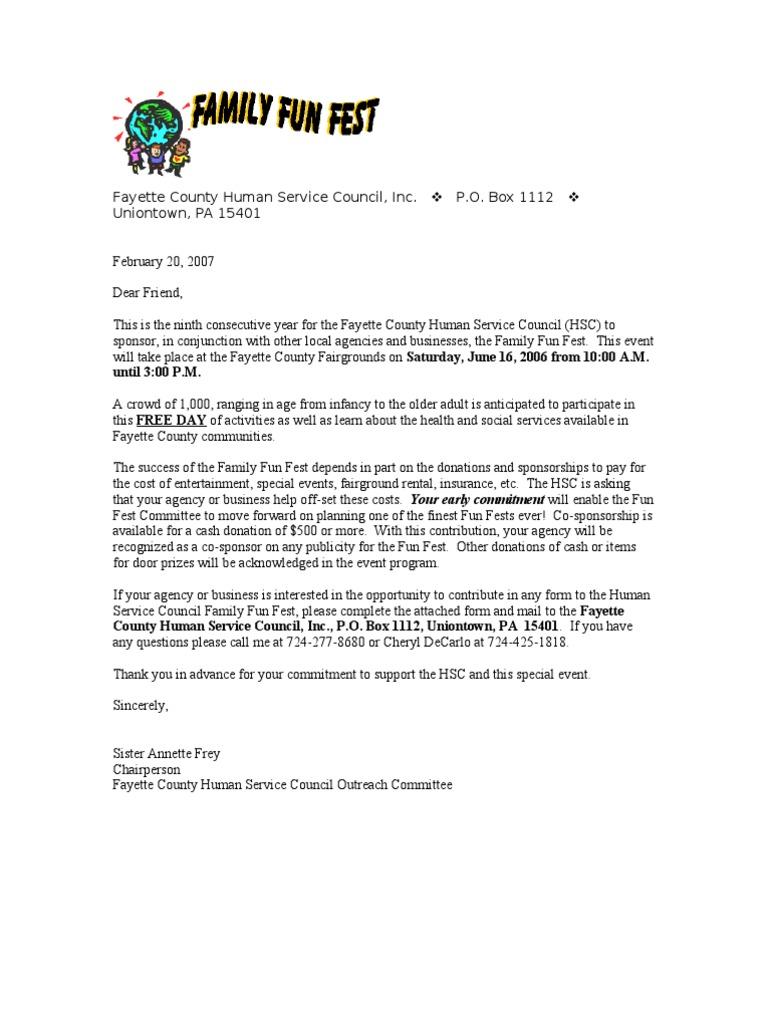 Sample Summer Festival Sponsorship Letter – Sample Sponsor Form