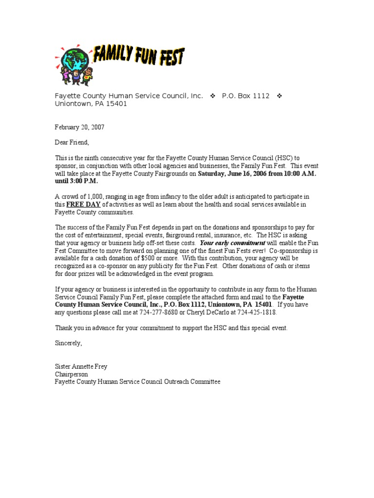 Sample Summer Festival Sponsorship Letter  Business
