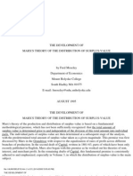 Moseley the Development of Marxs Theory of the Distribution of Surplus Value