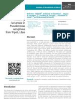 Detection of metallo-β -lactamase in Pseudomonas aeruginosa from Tripoli, Libya