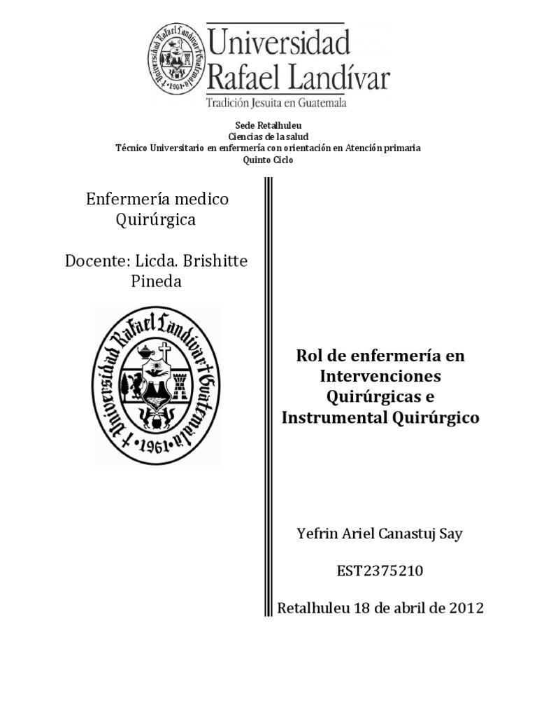 Circuito Quirurgico : Rol de enfermería en intervenciones quirúrgicas e instrumental