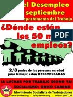 Boletín Especial MST- Día del Desempleo 2013 - ¿Dónde están los 50 mil empleos?