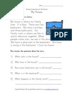 Descriptions Reading Comprehension House