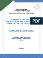 JUSTIFICACION DE LAS OPCIONES DE RESPUESTA DE LA PRIMERA PRUEBA DE AVANCE - LENGUAJE Y LITERATURA 9.pdf