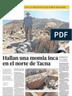 Hallan una momia inca en el norte de Tacna.