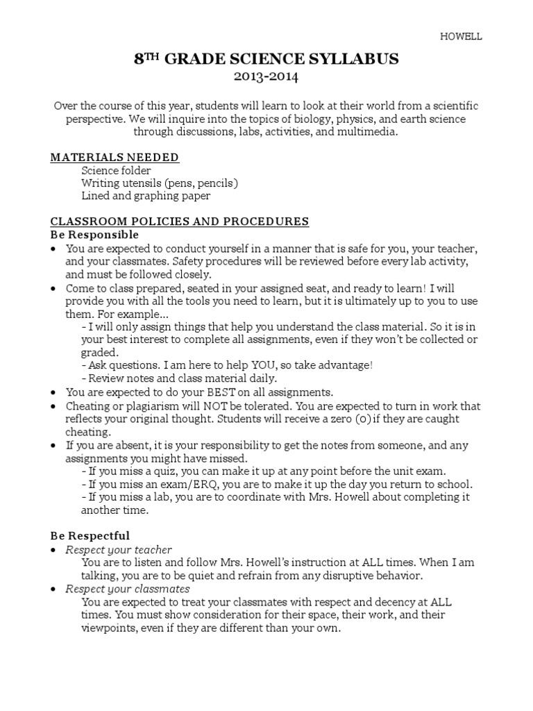 8th Grade Science Syllabus Syllabus Test Assessment