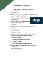 LTE Optimization Questions