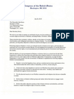 July222013 Members Letter to SecKerry on Religious Freedom in Pakistan[1] Copy