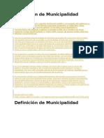 Definición de Municipalidad