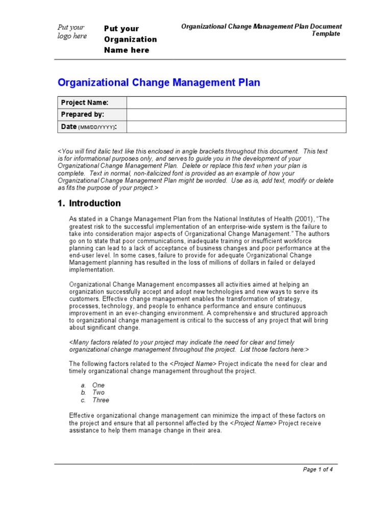 Organization change management plan template change for Change management process document template