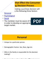 13.Categories That Effect the Consumer Buying Decision Process