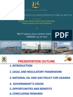 Uganda Government's Vision for Local Content Participation in the Oil Sector