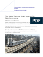 Metro Routes at Noida Approved by State Government