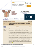 Synchronized Methods and Blocks Worries (SCJP Forum at JavaRanch)