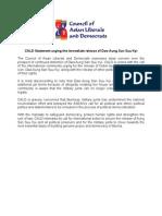CALD Statement Urging the Immediate Release of Daw Aung San Suu Kyi