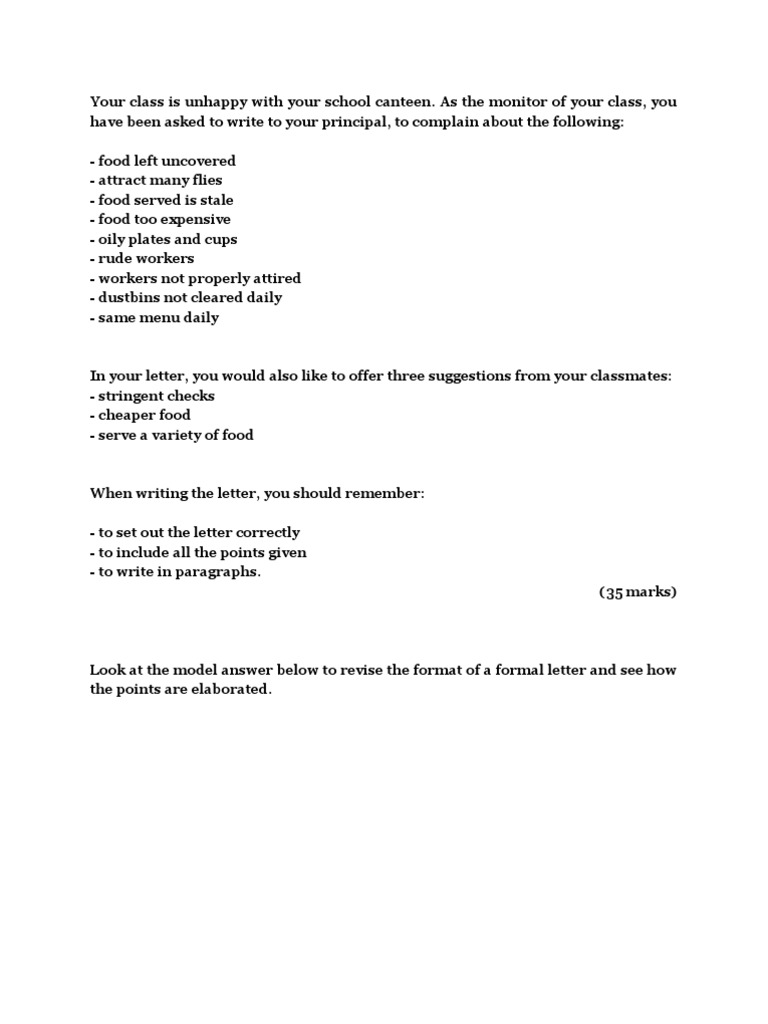 letter of complaint school canteen essays