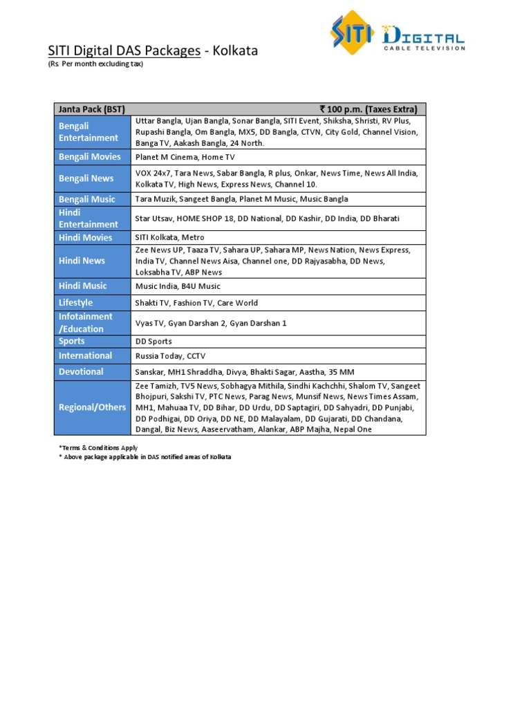 SITI Digital Kolkata DAS Packages pdf | Fox Broadcasting Company