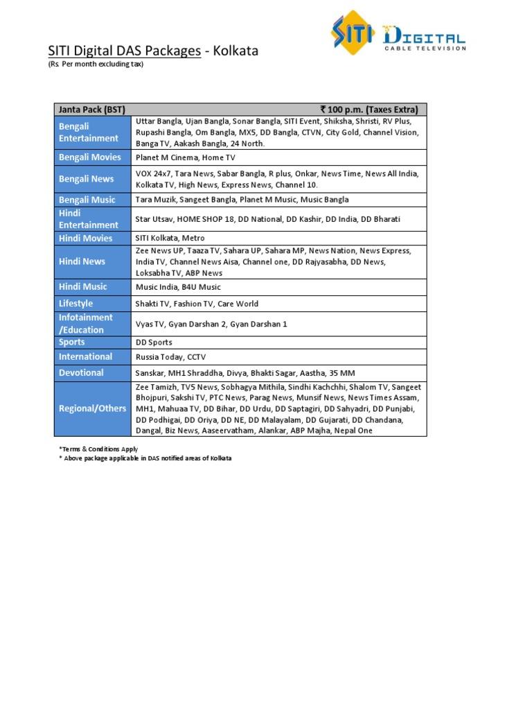 SITI Digital Kolkata DAS Packages pdf | Fox Broadcasting