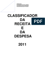 Classificador Da Receita e Despesa - 2011 - PCRJ
