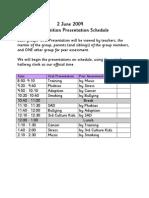 Exhibition Presentation Schedule