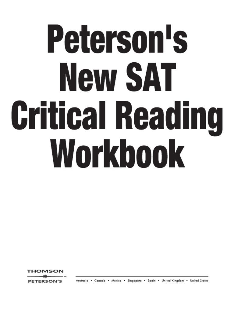New SAT Critical Reading Workbook | Sat | Test (Assessment)