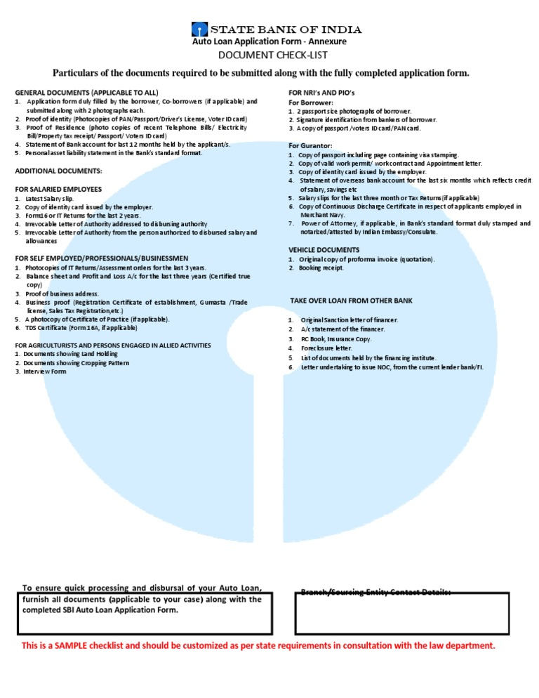 Checlist car loan identity document loans altavistaventures Gallery