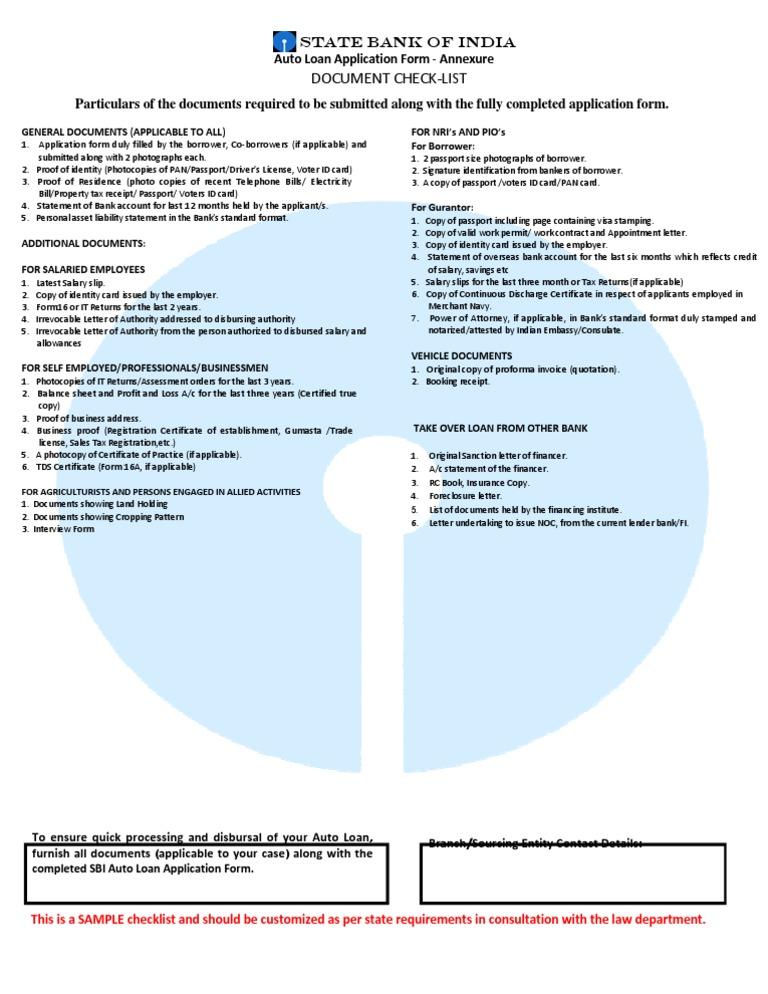 Checlist Car Loan Identity Document Loans