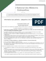 l'Osteopathie en France AFFICHE_SNMO