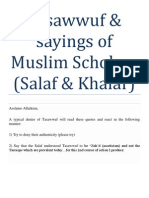 Tasawwuf & Sayings of Muslim Scholars (Salaf & Khalaf)