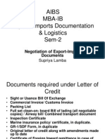 Negotiation of Export-Import Documents