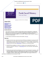 August 2013 Parish Social Ministry News and Notes