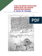 Decreto De Expulsión De Los Judios (31-03-1492, Granada)