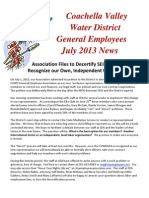 Coachella Valley Water District General Employees Association Files to Decertify SEIU and Form Independent Union, July 2013