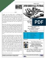 St. Augustine Catholic Church Sunday Bulletin, August 4, 2013