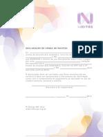 Declaração venda de pacote - N Jeitos BH'2012