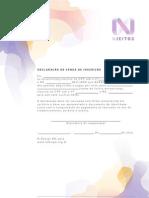 Declaração vende de inscrição - N Jeitos BH'2012