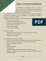 III. TOMA, ENVIO Y CONSERVACIÓN DE MUESTRAS (1)