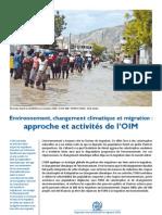 Environnement, changement climatique et migration
