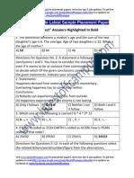 Bel Sample Aptitude Placement Paper