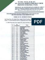 Pengumumanan Seleksi Administrasi KPUD 2013