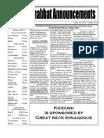 Shabbat Announcements, May 30, 2009