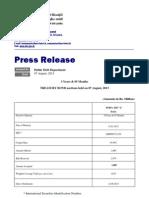 T Bond Press Release 07.08.2013
