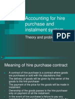 Accounting for Hire Purchase and Instalment System