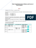 ACC 225 Week 6 CheckPoint Computing Inventory Balances and Lower of Cost or Market