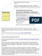 "International Journal of Qualitative Studies in Education Volume 8 issue 3 1995 [doi 10.1080%2F0951839950080302] Britzman, Deborah P. -- ""The question of belief""- writing poststructural ethnography"
