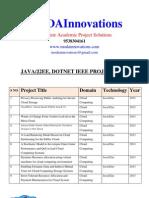 2013/2012 Java DotNet IEEE Projects List