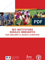 DES INSTITUTIONS RURALES INNOVANTES POUR AMELIORER LA SECURITE ALIMENTAIRE (FAO, IFAD – 2012)